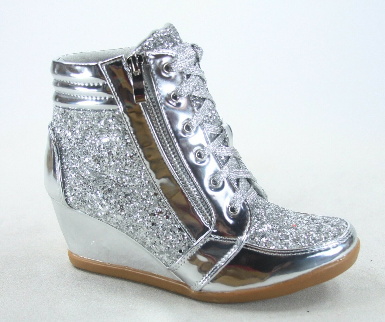 NEW Glitter Sneaker Women's High Top Lace Up Wedge Booties Shoes Size 5.5 - 10