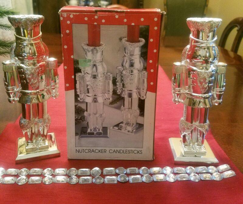 Two Nutcracker International Silver Co Christmas Silverplated Candlesticks