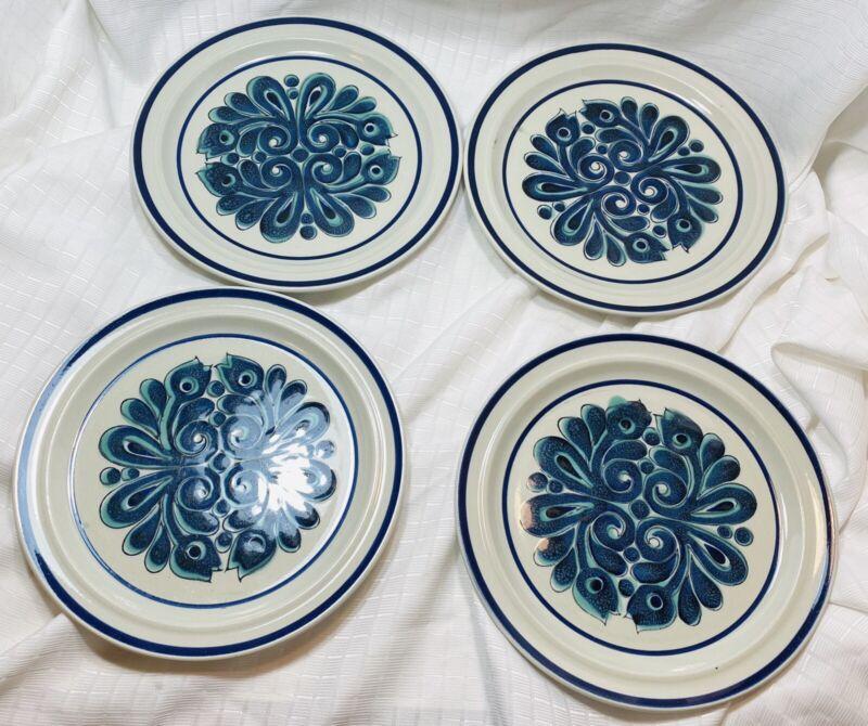 "4 Genuine ACSONS Fantasia 1009 Stoneware Dinner Plates 10 1/2"" Blue Floral"