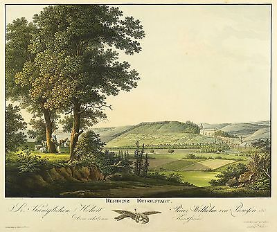 RUDOLSTADT - Gesamtansicht - Hammer - kolor. Umrissradierung 1810