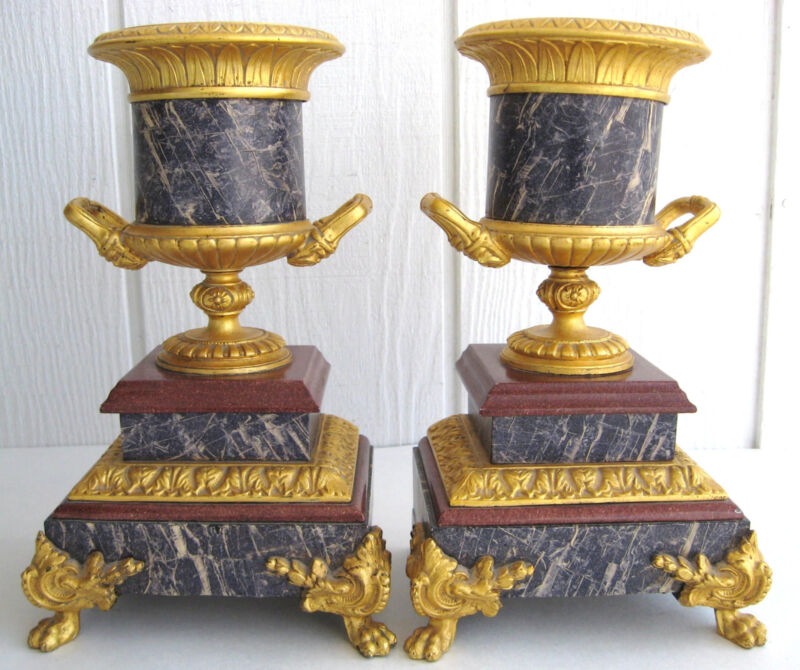 French Empire Gold Gilt Urn Garniture Mantel Claw Feet Acanthus Molding No Clock
