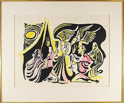 Phillip Ratner (American, 20 Century) Jewish Color Lithograph Print Signed (Phillip Ratner)