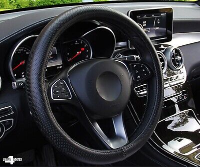 For Peugeot Black Pu Perforated Leather Steering Wheel Cover Protector Uk Stock