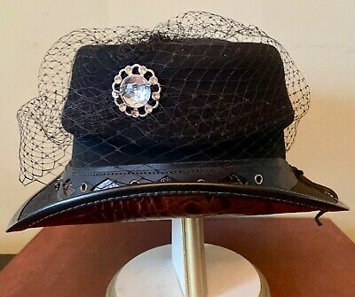 "Steampunk Handmade Hat "" DREADKNOT "" Crocodile Cosplay HAT Leather Gothic 7"