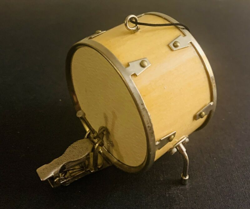 Vintage Wood Leather Miniature Drum w/ Kick Pedal Ornament FREE US SHIPPING