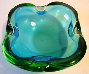 VTG-Blue-Green-Sommerso-Millefiori-Murano-Blown-Art-Glass-Bowl-Ashtray-Italy