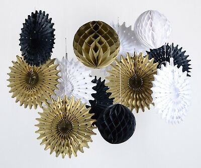 black white gold honeycomb ball fan for retirement wedding birthday anniversary](Black White And Gold Wedding Decorations)