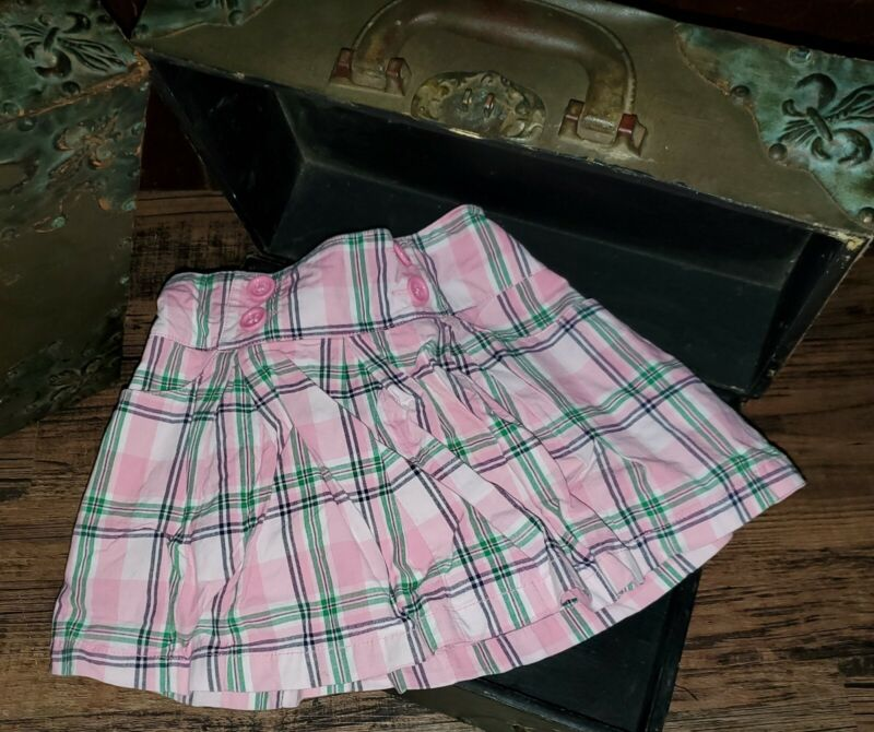 Gymboree Smart Girls Rule Pink Green Blue Plaid Skirt Size 6 *