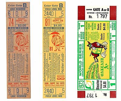 1973 METS A's WORLD SERIES GAME 1 FULL VINTAGE BASEBALL TICKET WILLIE MAYS