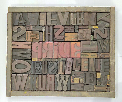 Letterpress Wood Types Collage Pride 81 Vintage Mixed Types For Decor Gift Tc27