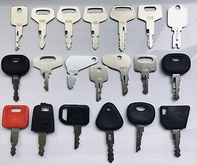 20pc Heavy Equipment Key Set Construction Ignition Keys Cat Case Komatsu Bobcat
