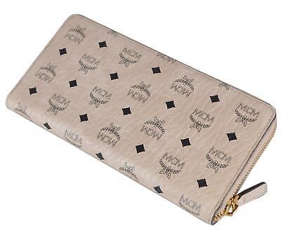 New MCM Women's $350 Beige Visetos Canvas Large Zip Around Wallet Clutch