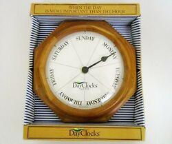 DayClocks Classic Day of The Week Oak Wall Retirement Clock - Dementia Gift 9.5