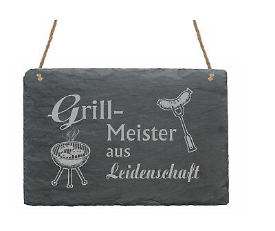Schiefertafel « GRILLMEISTER AUS LEIDENSCHAFT » Grillen Geschenk Männer Grill
