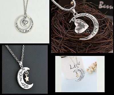 1  I Love You To The Moon And Back  Heart Father Daughter Mother Couple Necklace