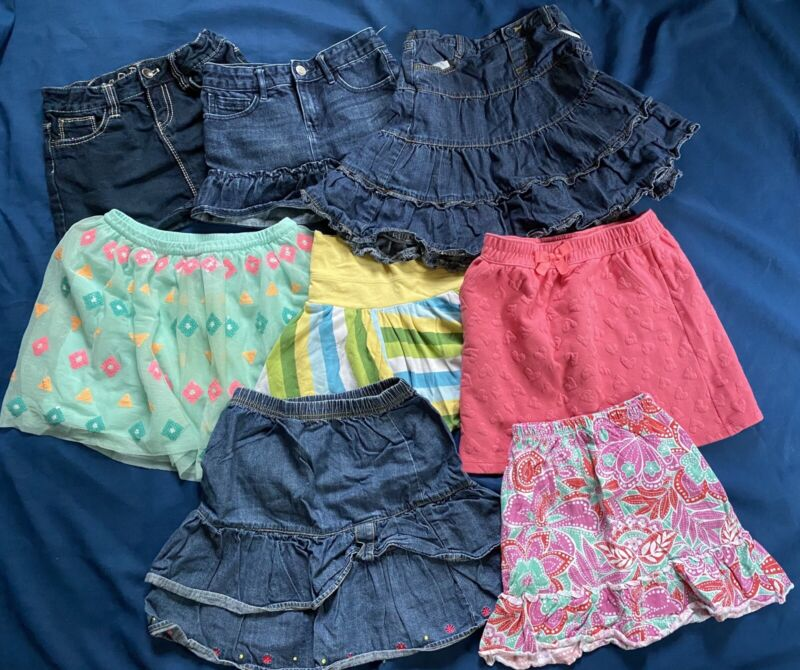 Girl's Size 7-8 ALL Skirts Denim Tutu 8pc Lot Justice Disney Gap Hanna Gymboree