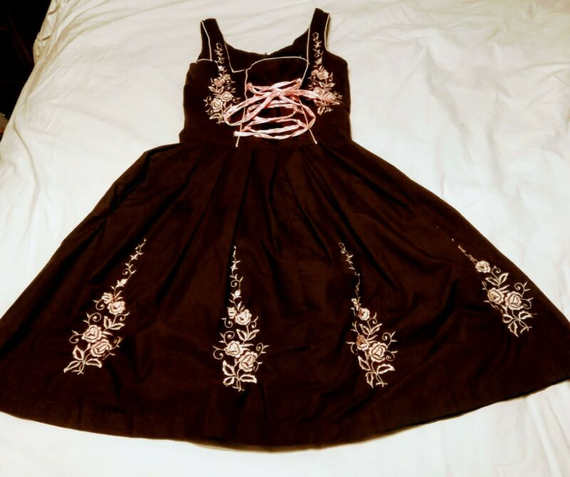 German Oktoberfest Dress Costume Brown Pink Laces Embroidery Sz US 4 EURO 34