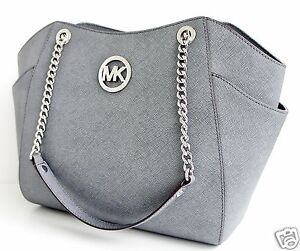 Michael-Kors-Tasche-Bag-JET-SET-TRAVEL-LG-CHAIN-SHLDR-HOBO-SAFFIANO-P-GREY-NEU