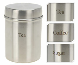 Set of 3 Stainless Steel Storage Canisters Tea Coffee and Sugar Storage Jars BN