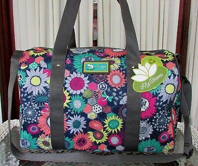 Lily Bloom Tara Sunflower Peace Overnighter  Duffel Travel Bag Weekender ECO NWT