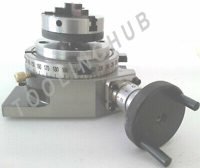 4 Inch 100mm Rotary Table 65mm 4 Jaw Self Centering Chuck Back Plate