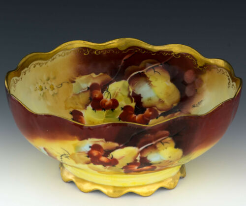 """Limoges Hand Painted Pickard Autumn Currants Pitcher Artist Signed """"Rean"""""""