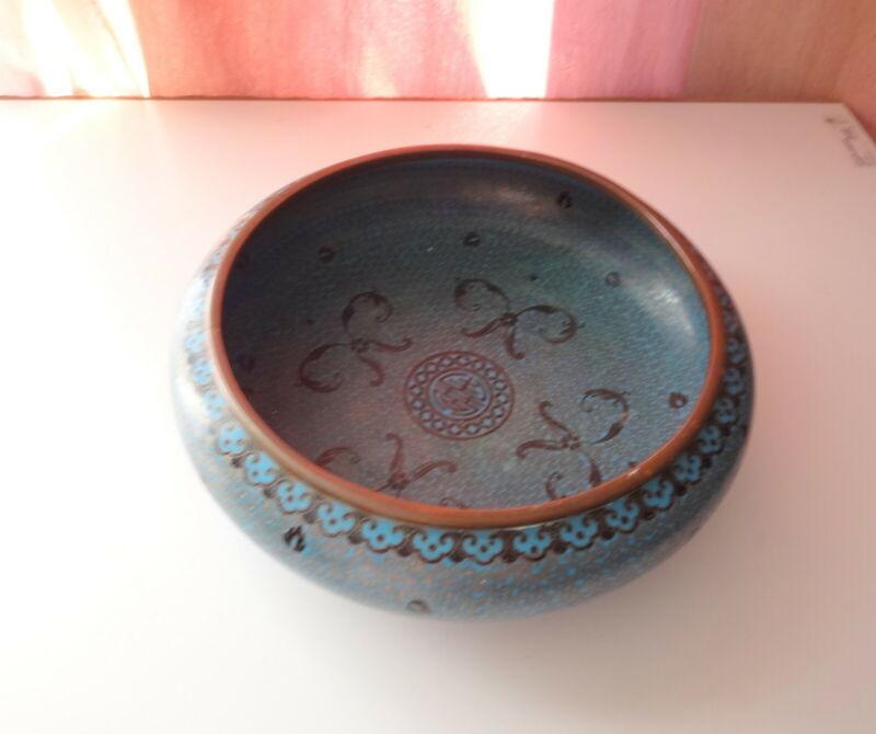 Mark Antique King Chinese Bronze Turquoise Cloisonne Enamel Brush Washer Bowl
