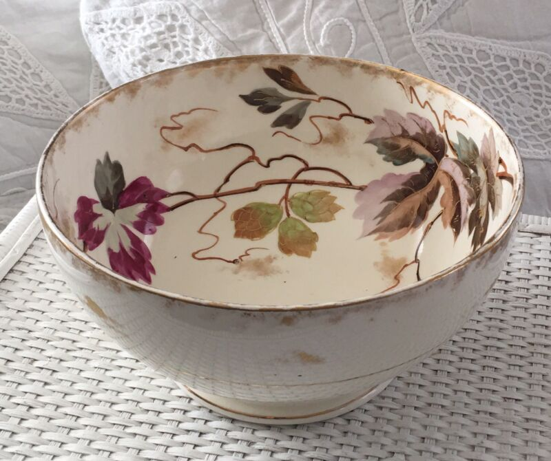 GORGEOUS ANTIQUE IRONSTONE HAND PAINTED Large Pedestal CENTER or FRUIT BOWL