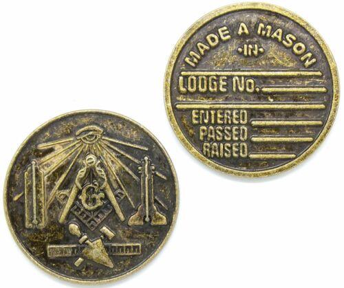 Masonic Made A Mason Medallion Pocket Coin Working Tools Square & Compass