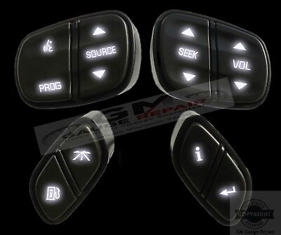 GM Chevrolet Steering Wheel Switches Controls Buttons New with White LED's 4pc White Control Switch
