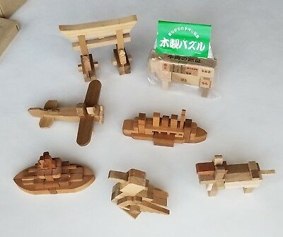LOT of 7 Japanese DOG COW DUCK SHIPS PLANE Vintage Wooden Kumiki Puzzles Japan