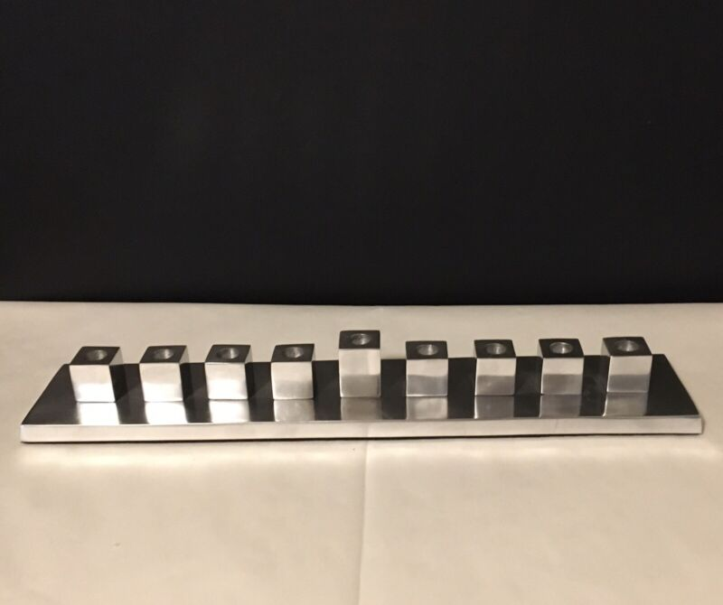 """West Elm Modern Menorah polished Silver Colored Metal 15.75"""" Mcm-style Squares"""