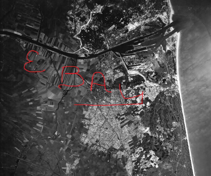 WWII HUGE 11X14 AERIAL RECON PHOTO 8TH USAAF IJMUIDEN NETHERLANDS COASTLINE 1943