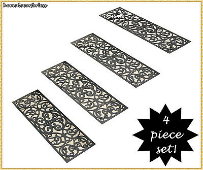 SET OF 4 RUBBER STAIR STEP TREADS MATS SCROLLED BUTTERFLY OUTDOOR PORCH TRACTION ()