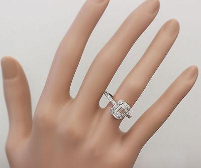 GIA G-VS2 14k White Gold Emerald Cut Diamond Engagement Ring Deco Halo 1.60ctw 11
