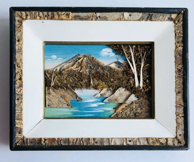 VNT 3-D Picture Painted Landscape Bark Moss Art Collage Diorama Mountain Lake