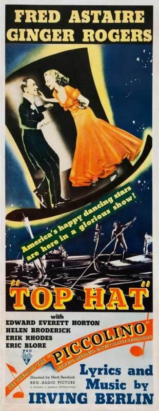 TOP HAT Movie POSTER 14x36 Insert B Fred Astaire Ginger Rogers Erik Rhodes Helen