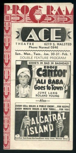 1937 ACE THEATRE Movie Program Flyer Chicago - Edward G Robinson, Eddie Cantor