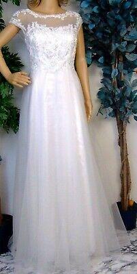 Vestido de Novia Registro Civil Boda Noche Crema - Talla 5 (40)...