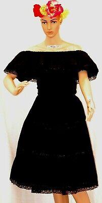 5 de Mayo Black Traditional Mexican Dress Knee Lenght Lace Ribbon Adelita Ruffle