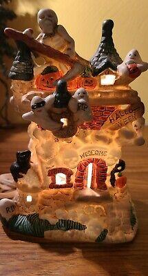 Vintage Ceramic Lighted Haunted House Halloween Decoration Ghost Cottage Village