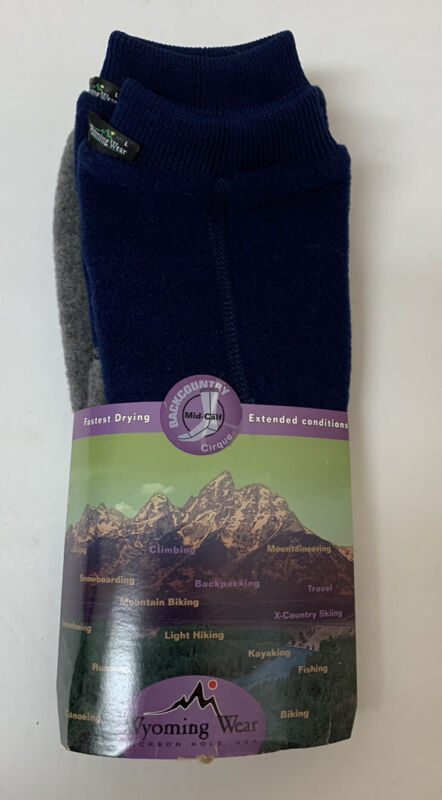 Wyoming Wear Fleece Boot Socks Fast Drying Mid Calf Size Large Blue Gray NEW