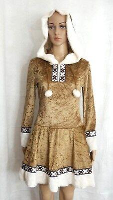 Eskimo Girl Fancy Dress Costume Halloween Golden Brown White Faux Fur Trim Jr M (Eskimo Costume Halloween)