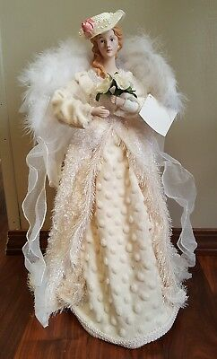"Victorian Angel Christmas Tree Topper Feather Wings 18""  Shabby Chic Table Top"