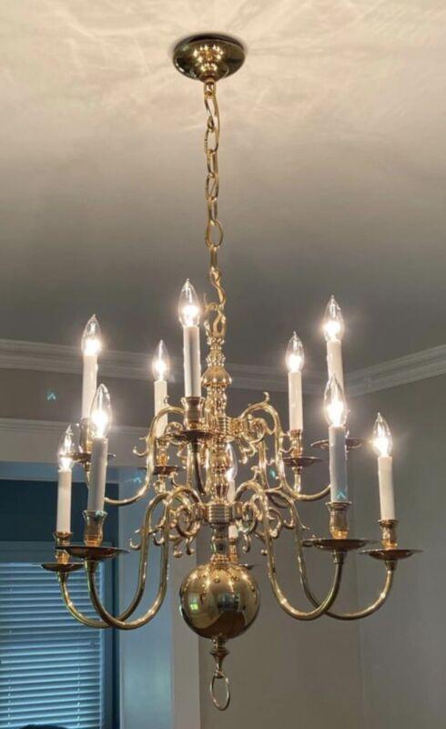 Vintage Solid Brass Colonial Williamsburg Style Chandelier Weiss & Biheller