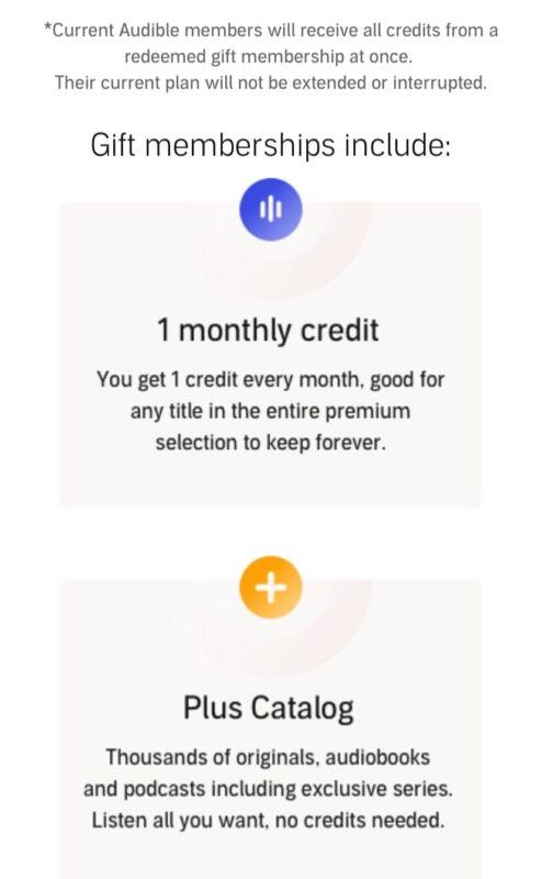 Audible Gift Membership Credit (1 month/1 credit)