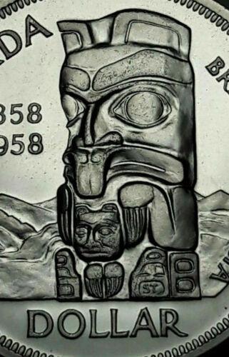 1958 CANADA SILVER DEATH DOLLAR TOTEM UNC CHOICE BU SUBTLE TONED GEM (DR)