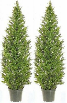 2 ARTIFICIAL CEDAR PINE OUTDOOR UV TOPIARY TREE 5' EVERGREEN PATIO PORCH -