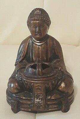 Vintage Brass tone Buddha incense burner cast pot metal Made in Japan