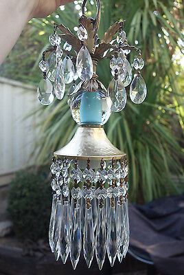 1of2 SWAG  lamp chandelier crystal prism Vintage Icy Blue Turquoise tole Brass
